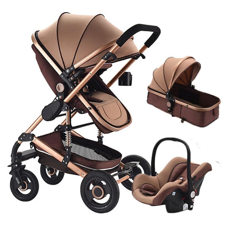 Cochecito de bebé 3 en 1 con sistema de viaje de asiento de coche bebé recién nacido 0 ~ 36 meses Carro de bebé