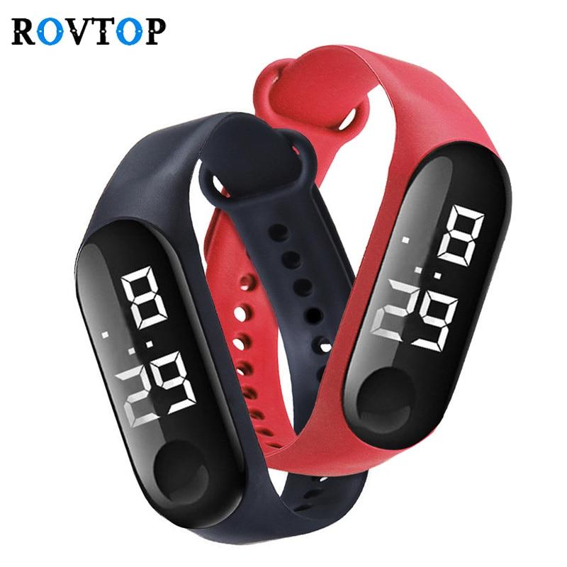 Dijital LED dokunmatik elektronik saat bilezik 50M su geçirmez erkekler kadınlar spor saatler cam Dial silikon kol saati Z4