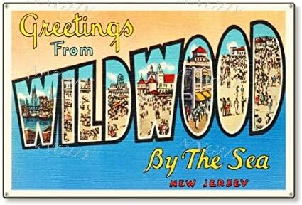 Letrero de hojalata de aluminio Wildwood por el mar, Nueva Jersey Nj,...