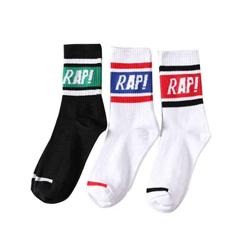 Оптовая продажа, OEM, уличная мода, жаккардовая надпись, Rap Cotton Дешевые Спортивные Носки