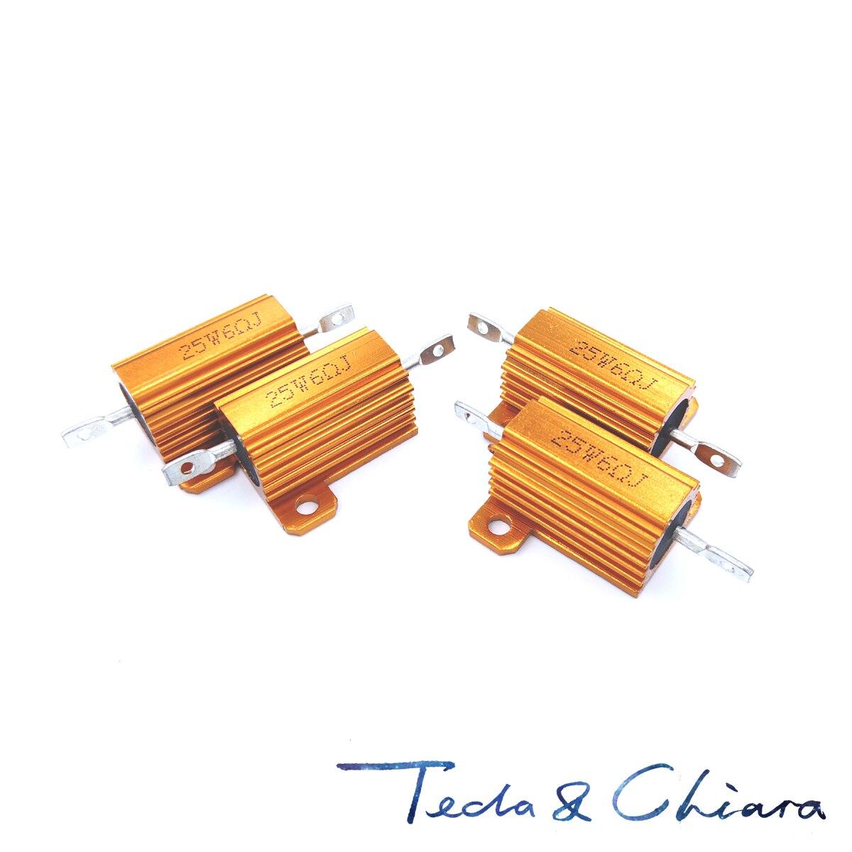 2 pces 100r 100ohm 100 10r 10ohm 10 r ohm 25 w watt wirewound alumínio potência metal escudo caso resistência resistor rx24