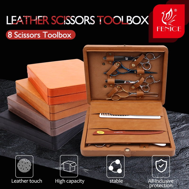Fenice Professional Scissors Carrying Case Leather Hair Scissors Bags Pouch holder 8 scissors Display Box professional hairdresser bags 2pcs or 4pcs scissors storage bags hair scissors case package holster pouch holder tool lzn0001