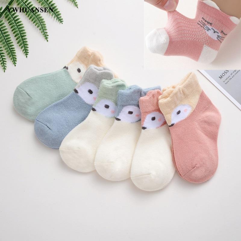 YWHUANSEN, 6 par/lote, calcetines bonitos de dibujos animados para recién nacidos, calcetines de algodón peinado para niñas, calcetines finos de malla de verano para niños pequeños