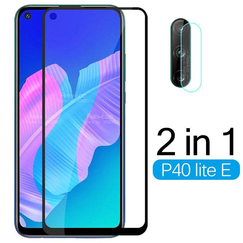 2 in 1 Tempered Glass For Huawei P40 lite E Camera Lens Screen Protector For Huawei P 40 lite light E 40lite E Protective Film