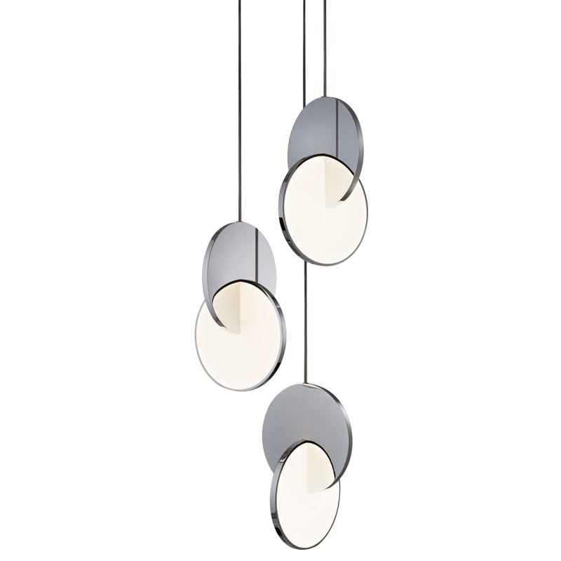 الحديثة جديد حلقة قلادة Led أضواء هندسية دائرة الحديد الصغيرة شنقا مصباح الطعام غرفة نوم الزخرفية إضاءة داخلية