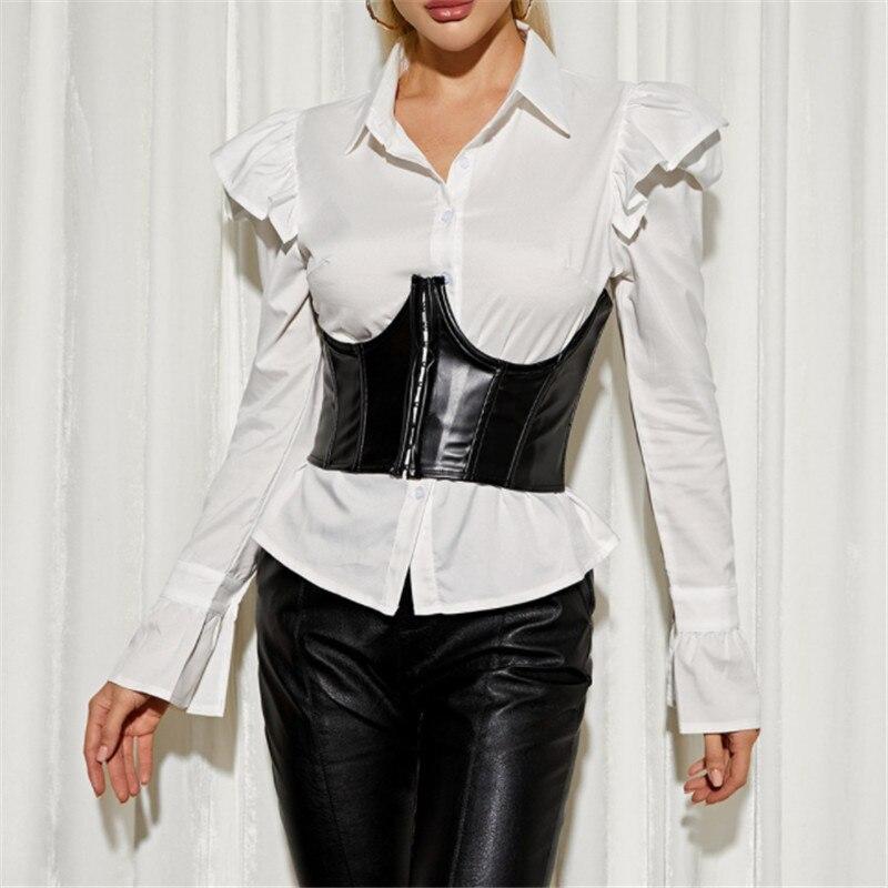 Ceinture de Corset en cuir PU pour femmes, fermeture éclair, couture noire, Sexy, large, élastique, haut moulant, 2021