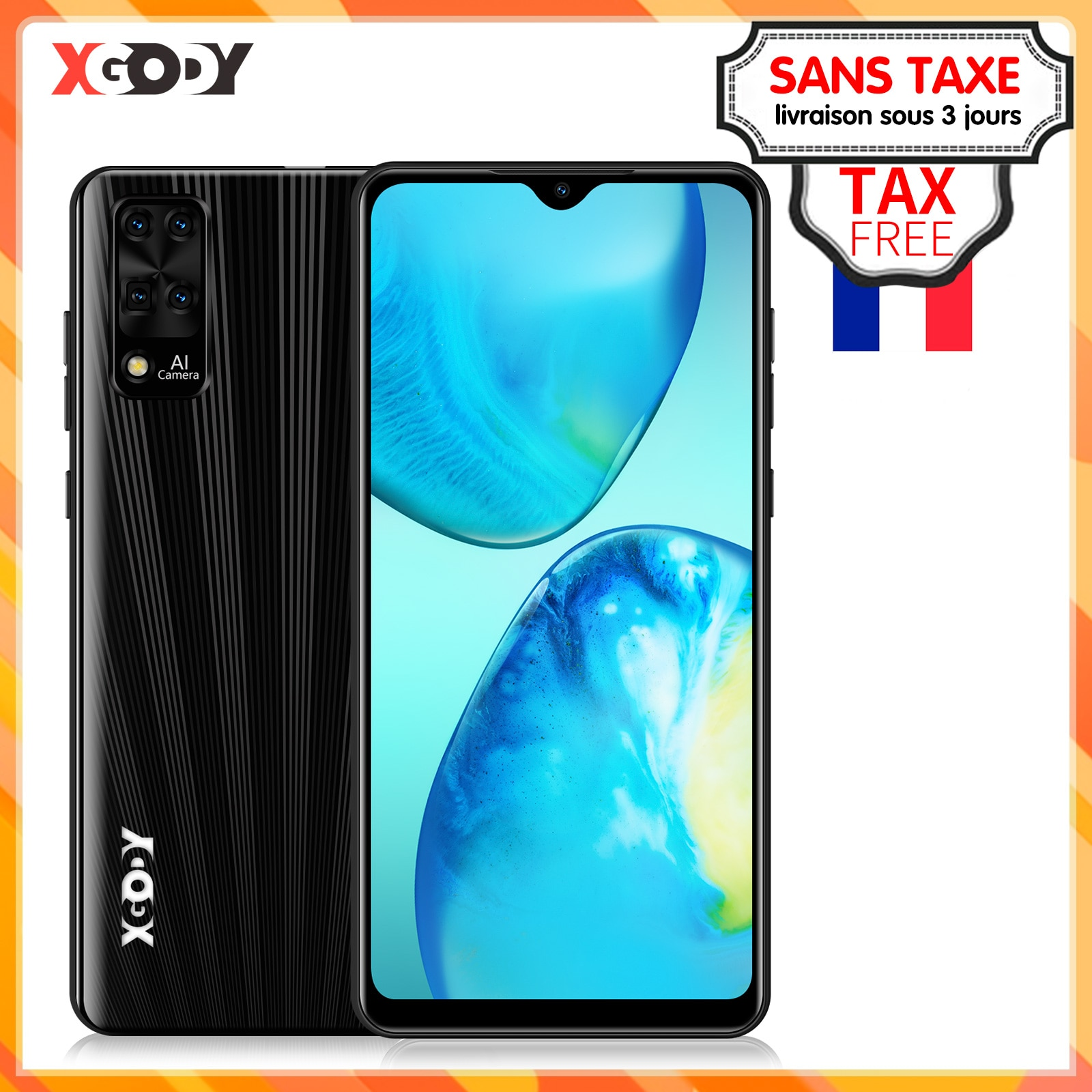 Global XGODY Smartphone 3G Android 9.0 6.3 Inch Quad Core Unlocked Face ID Mobile phone RAM 2GB ROM 16GB Celulares Cellphone