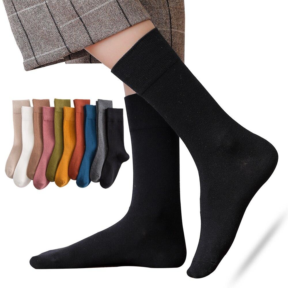 Новые высококачественные хлопковые носки, женские длинные носки в японском стиле Харадзюку, черные модные цветные носки в Корейском стиле ...