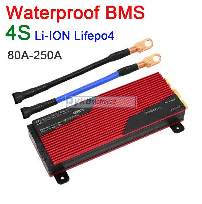 DYKB impermeable BMS 4S 12V 80A 100A 120A 200A 250A LiFePO4 Li-Ion 18650 Placa de protección de batería de litio con balance 3,2 V 3,7 V