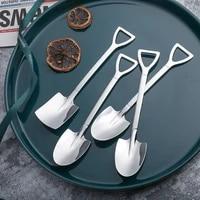 new coffee spoon cutlery set stainless steel retro iron shovel ice cream spoon scoop creative spoon tea spoon fashion tableware