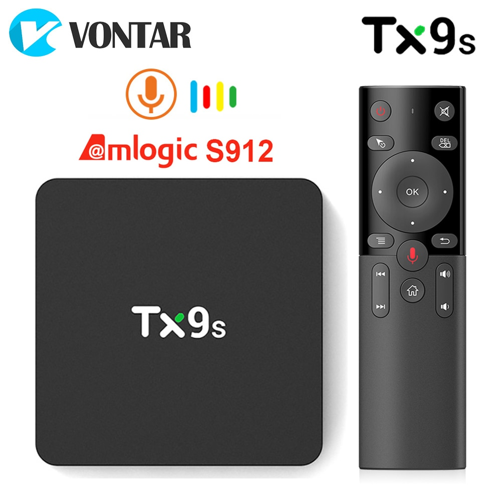 TX9s Android Smart TV Box Amlogic S912 2GB 8GB 4K 60fps TVBox 2.4G Wifi 1000M Google Assistant Voice