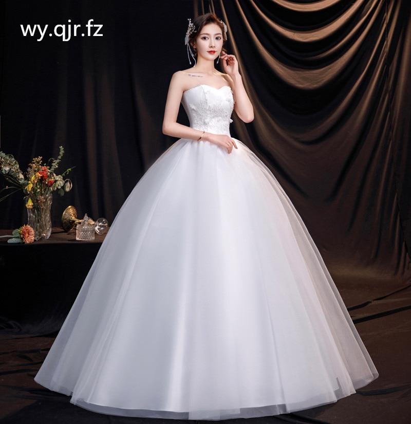 DM-2105 # العروس فستان الزفاف الراتنج الحفر الأبيض الكرة ثوب حمالة رخيصة بالجملة الأورجانزا الدانتيل يصل حجم Pluse استوديو الصور