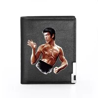 classic cool bruce lee printing pu leather wallet men women bank credit card holder short purse male standard wallets