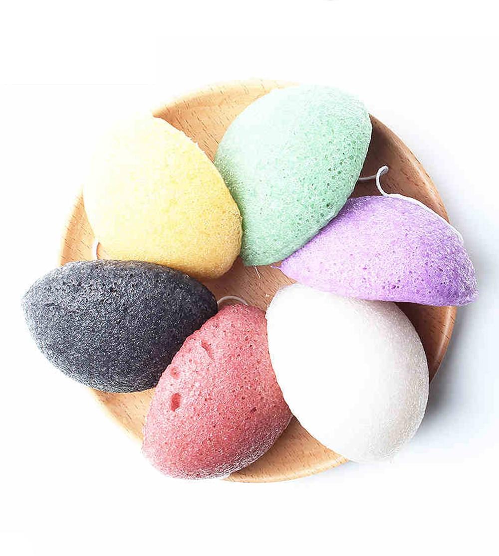 Esponja de limpieza profunda Facial Konjac Konnyaku, 6 colores naturales, esponja Exfoliante para limpieza Facial