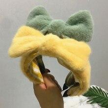 Knotting Bow Hairbands opaska na głowę Faux futro wełna jagnięca z pałąkiem na głowę gruby futrzany Hairband akcesoria do włosów pluszowy królik uszy obręcz do włosów