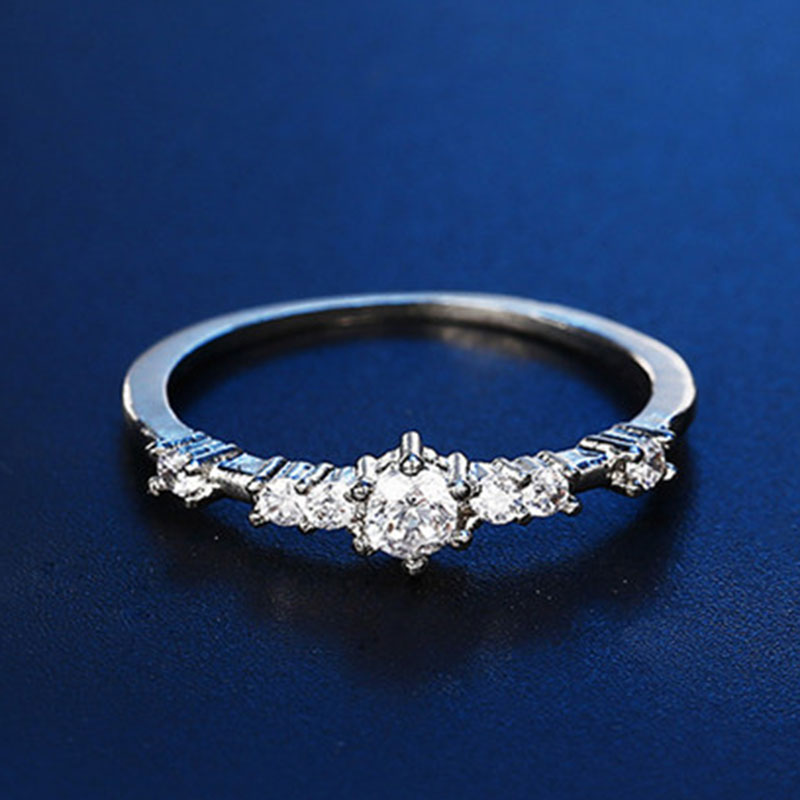 Rings for Women Engagement Wedding Thin Clear Zircon Bridal White Gold Color Jewelry Gifts Accessories