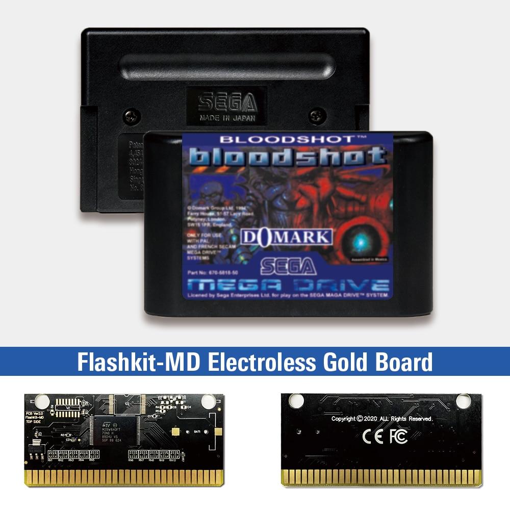 Bloodshot-Tarjeta PCB dorada sin electrodos MD para Sega Genesis Megadrive, Flashkit con...