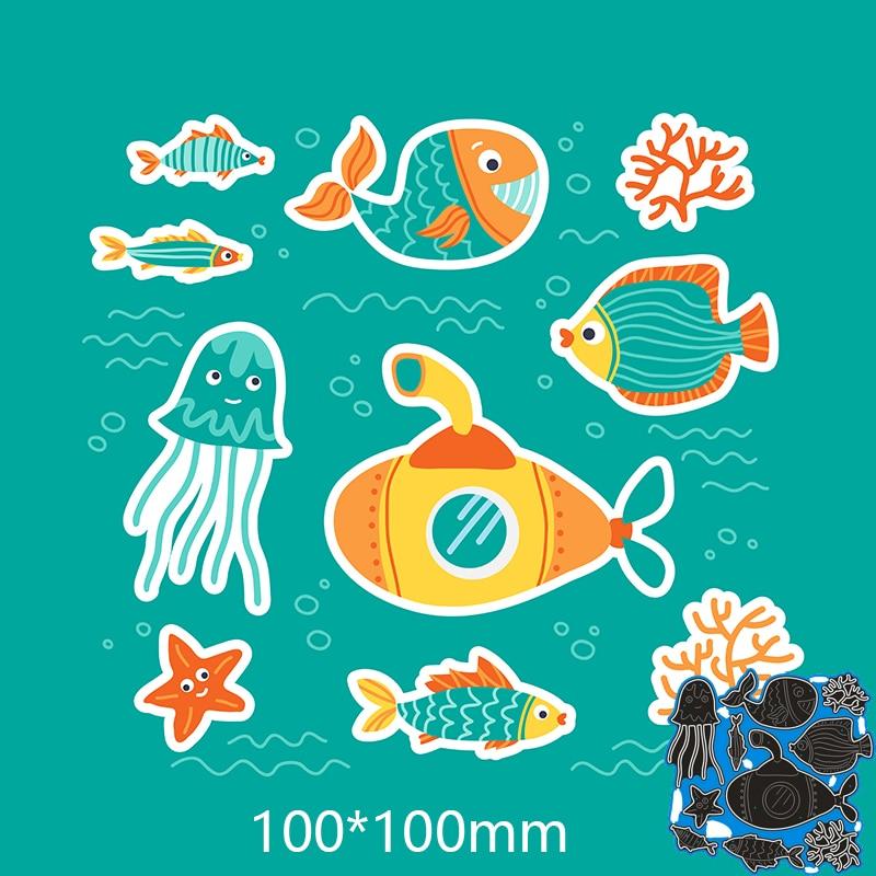 Metal steel Cutting Dies New  Underwater World DIY Scrapbooking Photo Album Embossing paper Cards 100*100mm