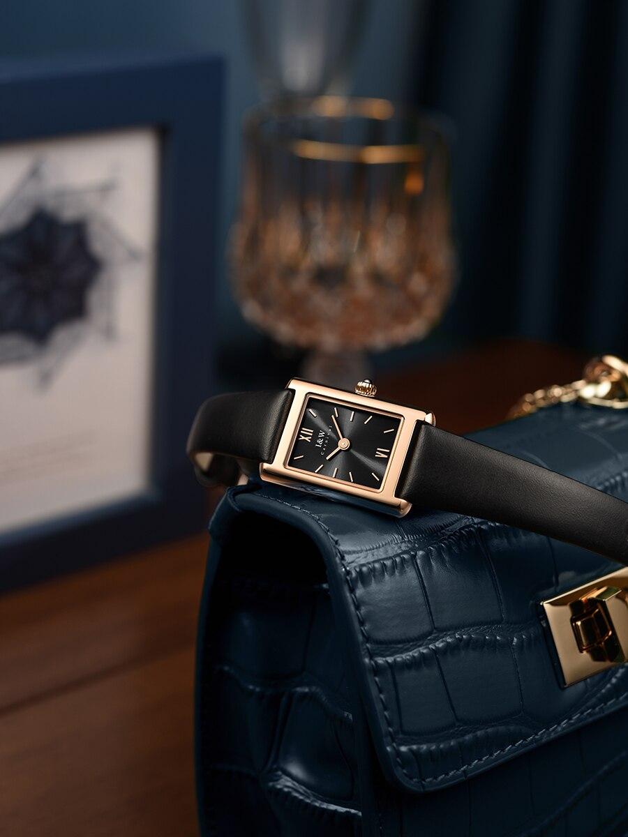 Aiwochi iw Swiss genuine watch female simple temperament waterproof quartz female watch square brand watch small square watch enlarge