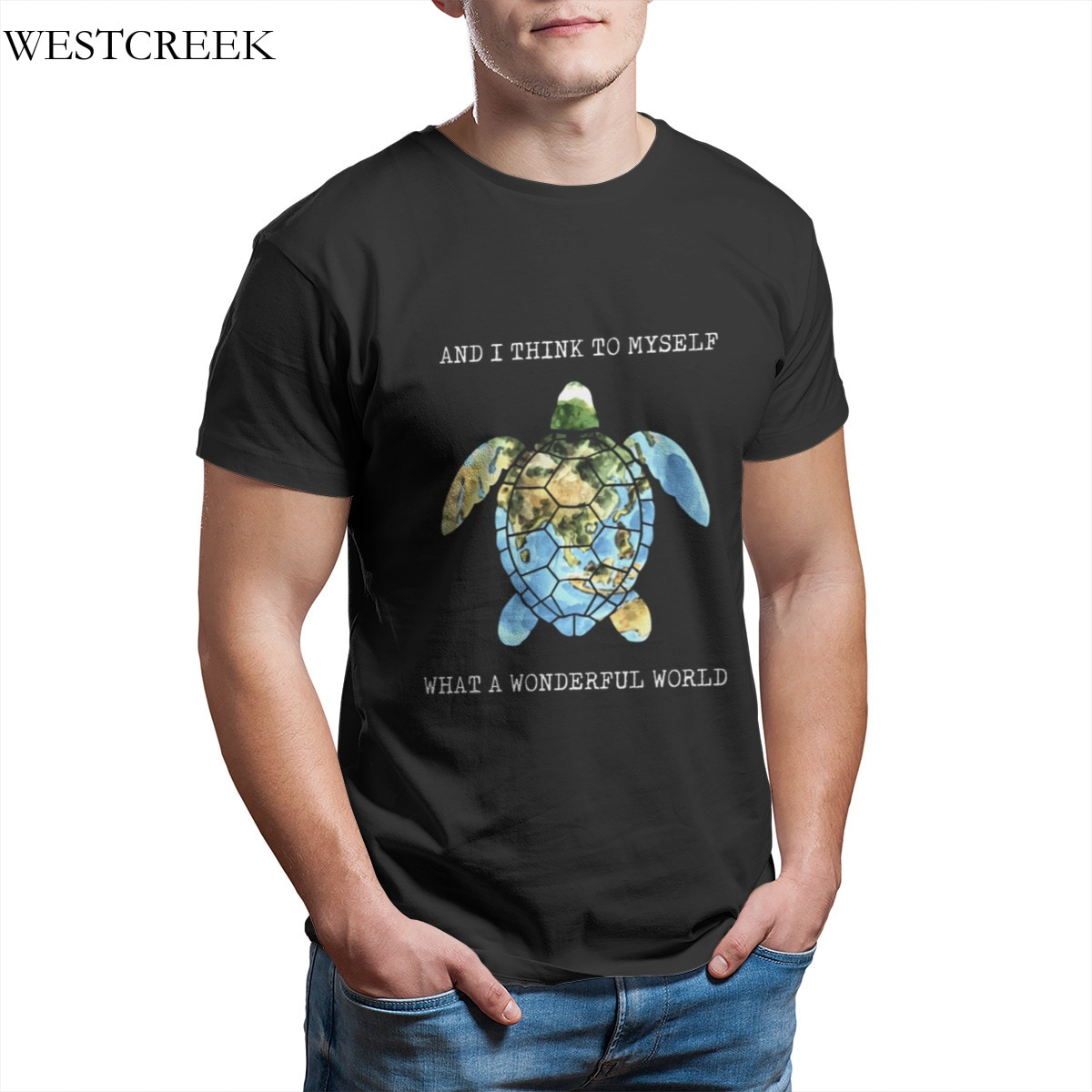 Wholesale Men's T-Shirt And I Think To Myself What A Wonderful World tortoise Essentials Funny Hip-Hop Tees 33241