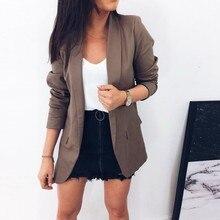 2019 Slim Blazers Women Autumn Suit Jacket Work Office Lady Suit Black Business Notched Pocket Blaze