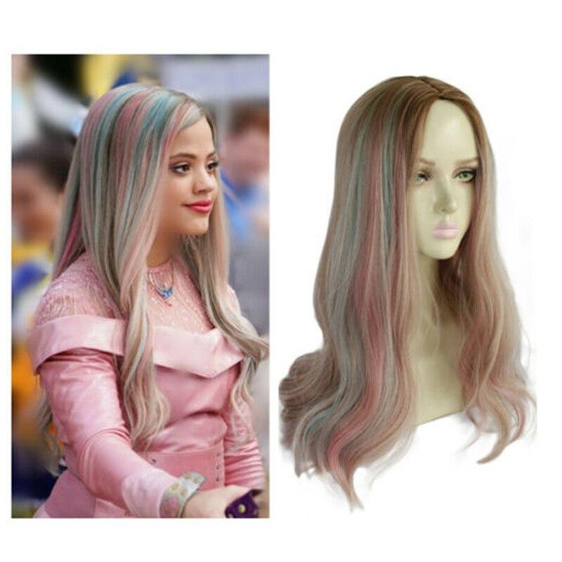 Femmes Descendants 3 adulte Audrey perruque princesse longue bouclés Cosplay perruques cheveux synthétiques Cosplay Costume perruques