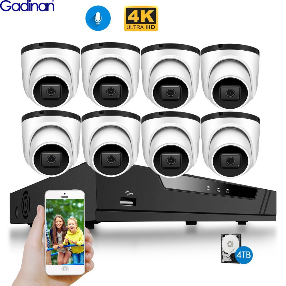 Gadinan Ultra Hd 4K 8MP Poe Ip Camera Kit 8CH Video Sony IMX415 Security System Outdoor Audio Record H.265 nvr Camera Cctv Set