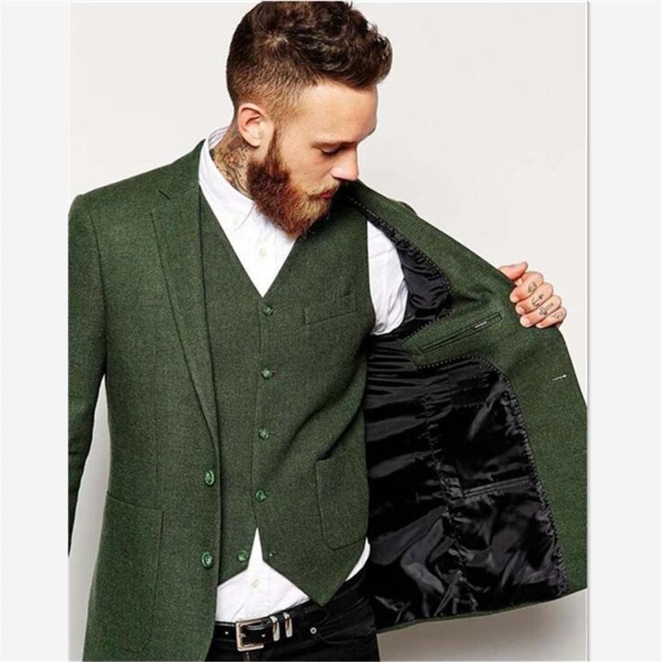 أحدث تصاميم معطف بانت الأخضر الرجال البدلة Terno مخصص زي سهرة السترة Masculino الرجال الدعاوى 3 قطعة مجموعة (سترة + السراويل + سترة)