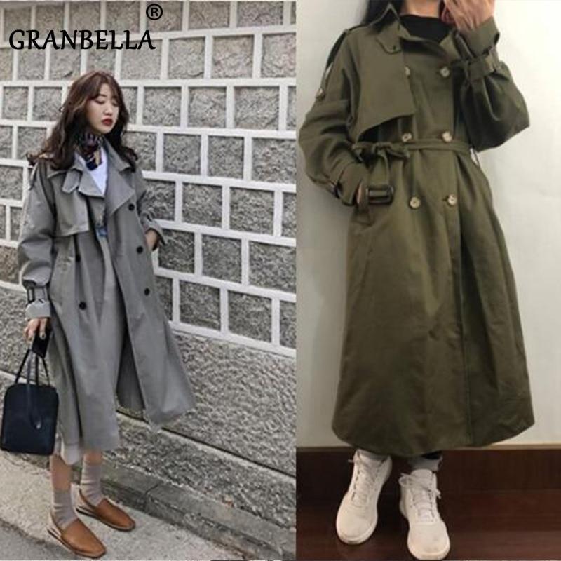 2021 Fashion brand Women long trench coat and jackets large size raincoat windbreaker manteau femme