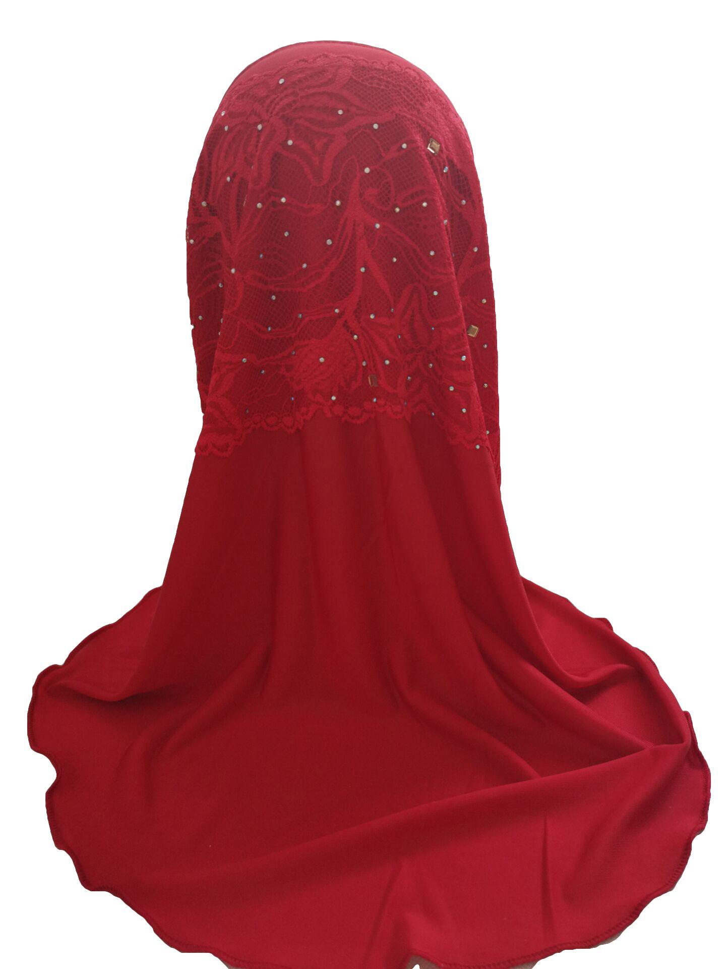 Kids Girls Amira Hijab Scarf Headwear Muslim Paryer Shawl Stole Rhinestone Arab Islamic Headscarf Turban Middle East Head Wrap