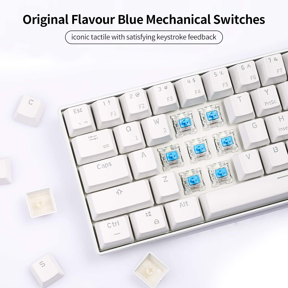 Mini Mechanical Keyboard Blue Backlight 61 Key BT Dual Mode Keyboard for Gamer Phone/Tablet White with Gateron Red Switches enlarge