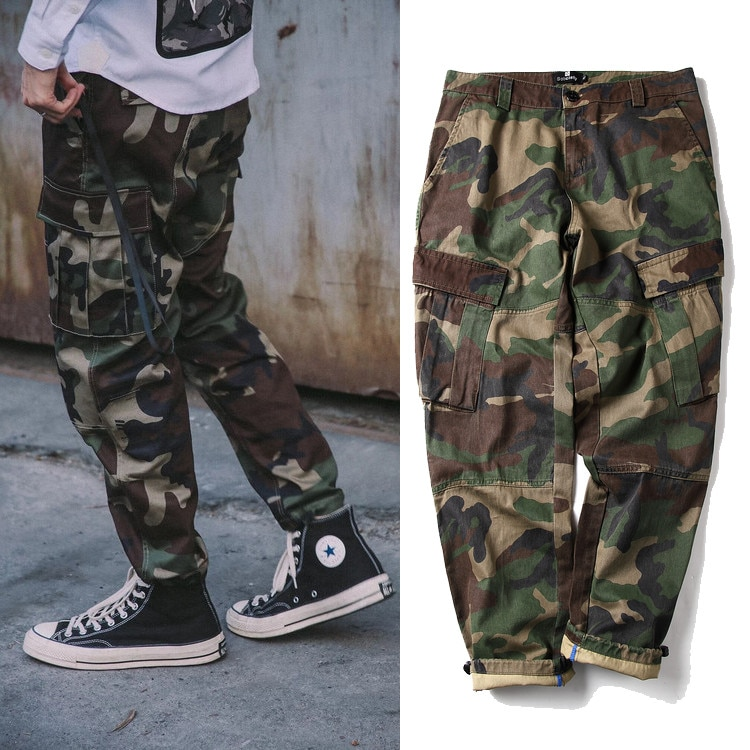 Fashion Brand Multi-Pocket Camouflage Cargo Pants Loose-Fit Tappered Trousers Skinny Pants Casual Pants Long mens fashion
