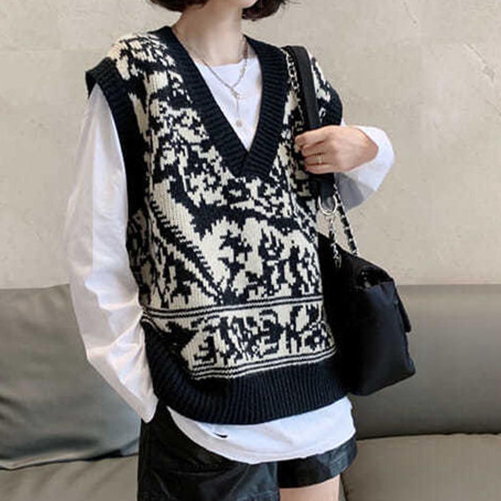 Knitted Sweater Vest Women's Knitted Printed Long Sleeve Sweaters Oversized PK K618 ullover V-neck Ladies Sleeveless Vest Top