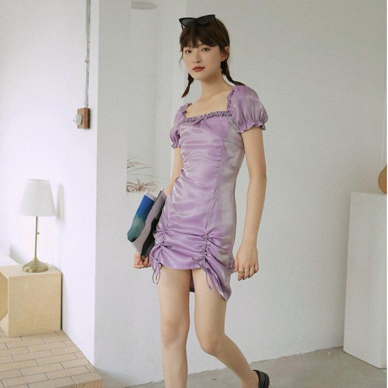 LANMREM verano 2020 púrpura negro cordón diseño encaje cuadrado cuello vestidos de manga corta mini vestido de longitud WM31114L