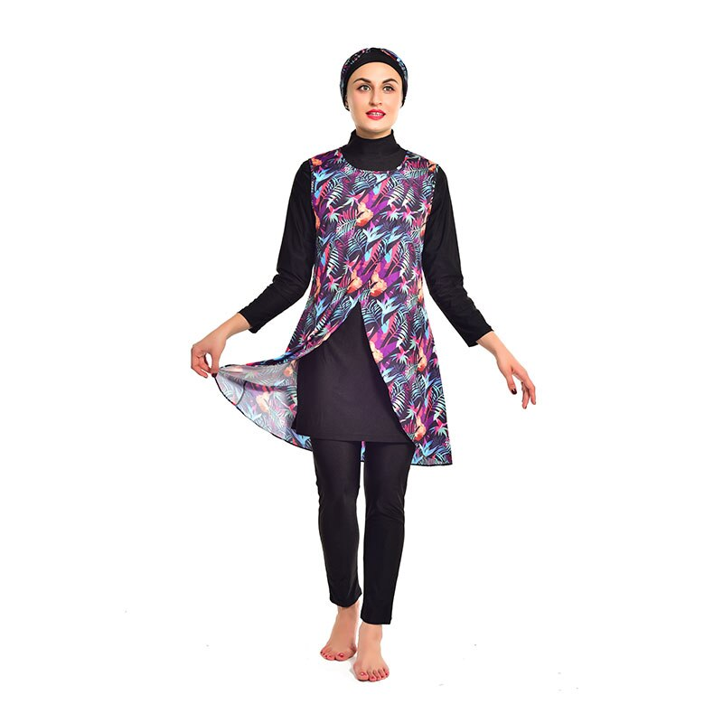 2021 New Muslim Swimwear Women Modest printing Full Cover Long Sleeve Swimsuit Islamic Hijab Islam Burkinis Wear Bathing