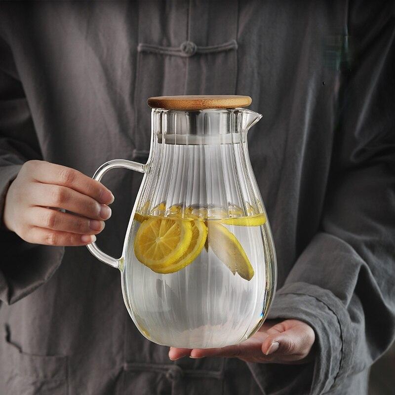 العزل المنزلية الباردة غلاية مقاومة للحرارة الإبداع إبريق زجاجي للماء غطاء خشبي Carafe En Verre اكسسوارات المطبخ DK50CK
