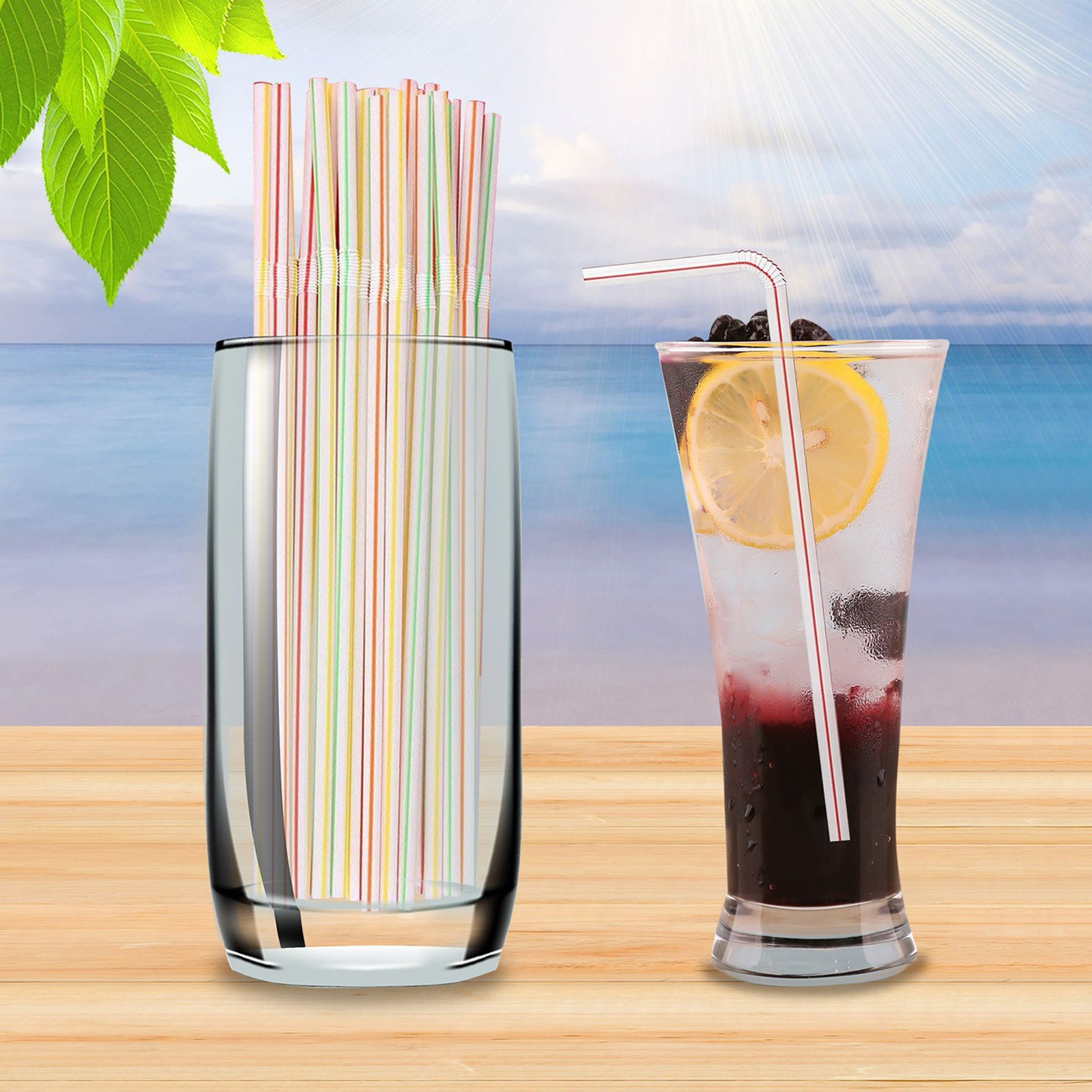 Disposable Plastic Drinking Straws Multi-colored Striped Bendable Elbow Straws Party Event Alike Supplies Color Random