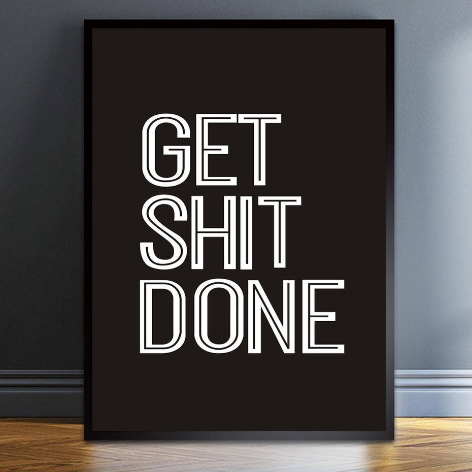 Quadros em tela obter merda feito vida lema preto branco tipografia motivacional poster impressão fotos da parede decoração do quarto casa