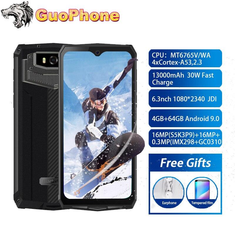Blackview BV9100 4 Гб + 64 Гб IP68 водонепроницаемый мобильный телефон 6,3 дюйма Android 9,0 13000 мАч MTK6765 Восьмиядерный NFC 16.0MP прочный смартфон