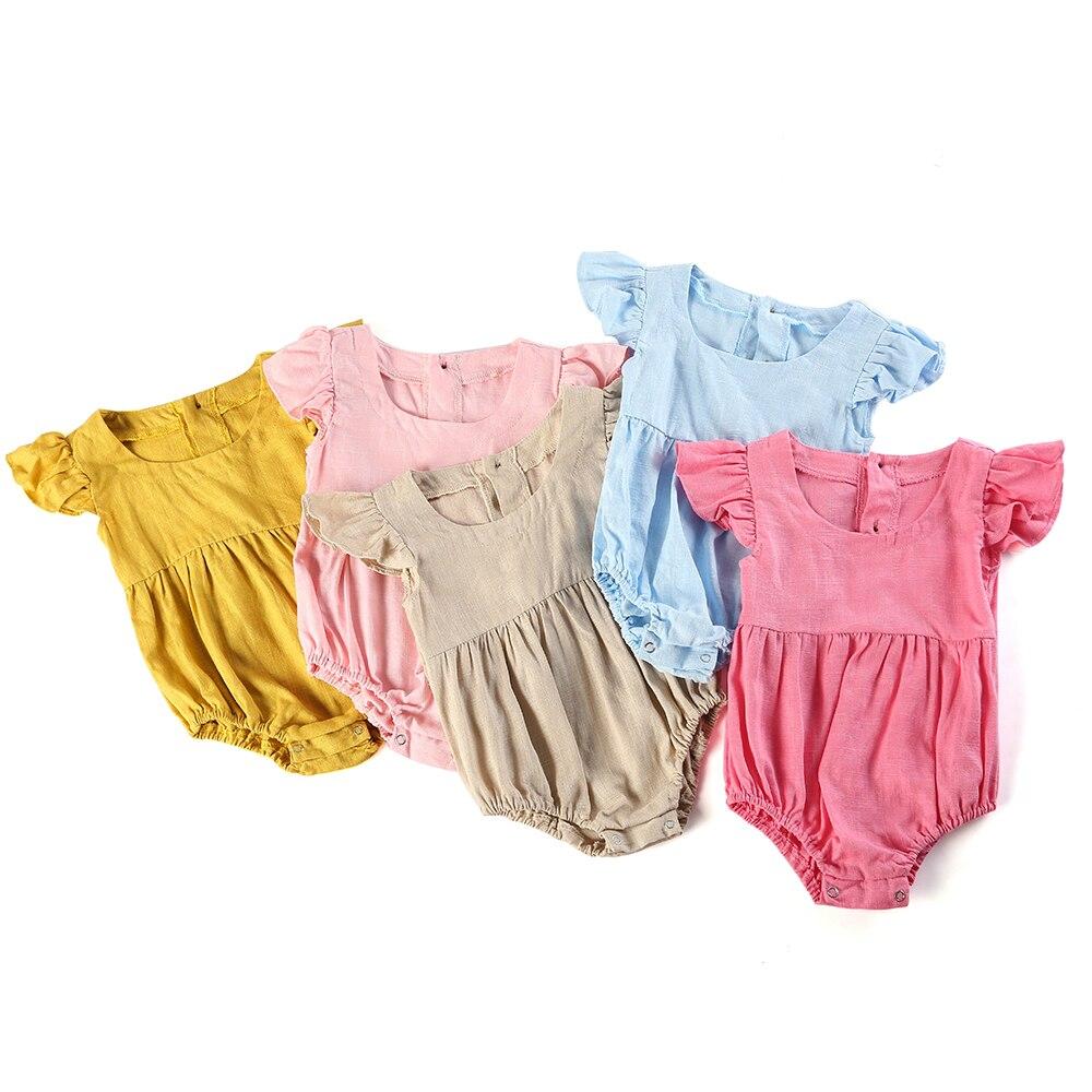 100% algodón recién nacido 3 m-24 m bebé niñas línea mamelucos manga flutter mono liso suave babe romper boutique calidad para bebé