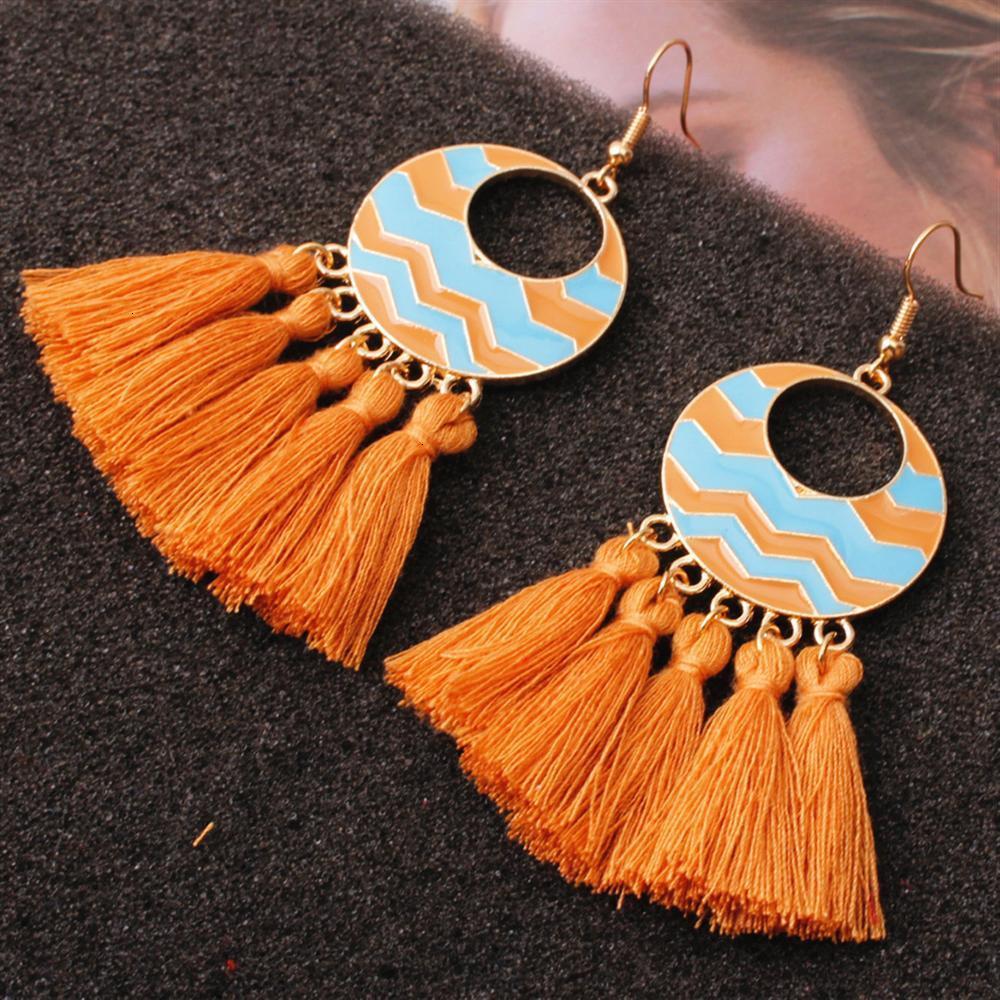 New Fashion Boho Tassel Vintage Statement Drop Earrings For Women Black Red Yellow Big Dangle Fringe Ear Rings 2019 Jewelry Gift