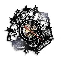 Horloge murale en vinyle pour Home cinema  faite a la main  pour les amateurs de cinema  en noir  cadeau artistique