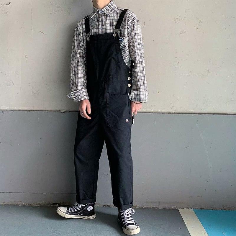 Комбинезон HOUZHOU, мужские брюки-карго, Черный Классический комбинезон, повседневный мужской комбинезон, Джоггеры для весны и осени, стандарт...