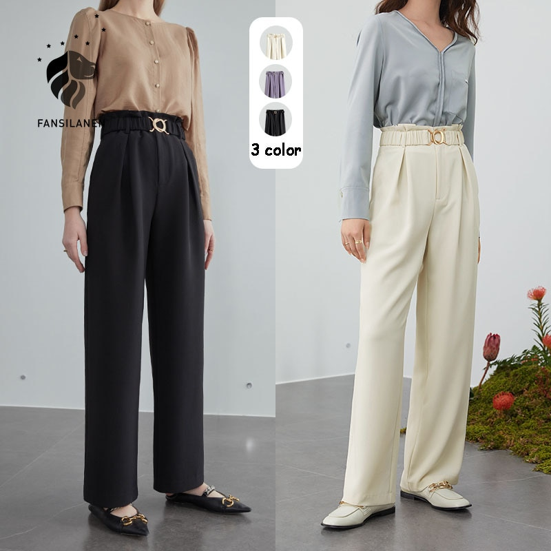 FANSILANEN Wide leg high waist casual pants capri Women black spring summer pants with chain Female