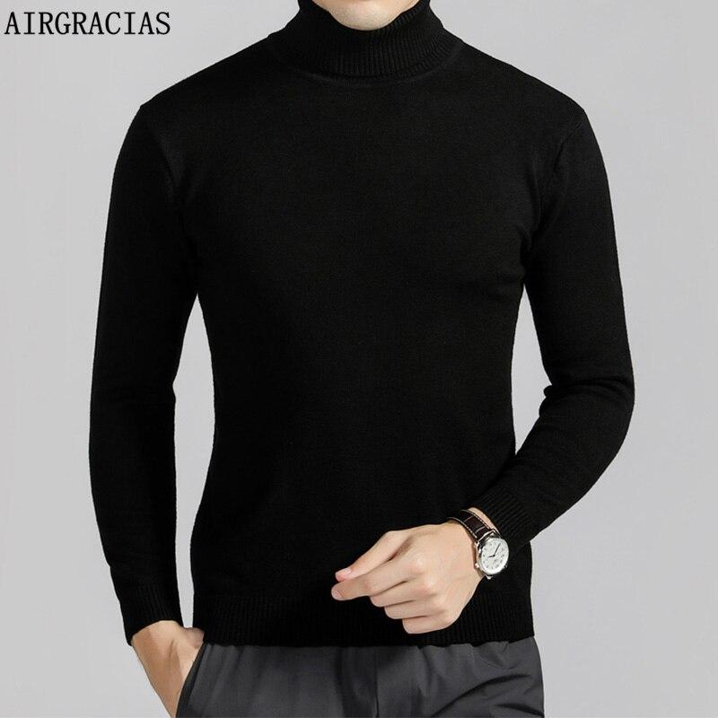 AIRGRACIAS Winter Warme Pullover Männer Rollkragen Einfarbig Männer Pullover Slim Fit Pullover Männer Klassische Stricken Mode Pull Homme
