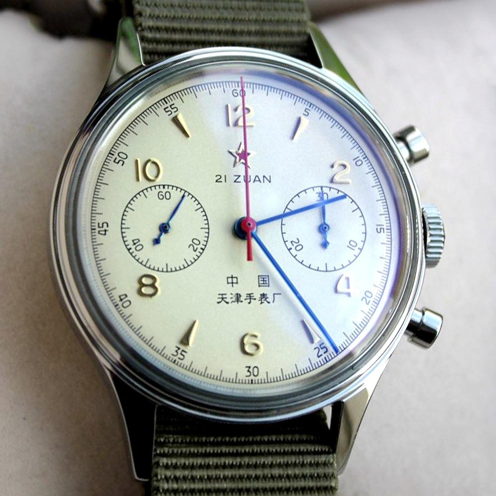 1963 Watch Men Pilot Chronograph Wristwatch Seagull ST1901 Hand Wind Mechanical Movement Air Force 3