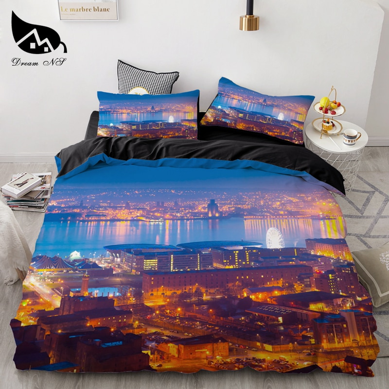 3 قطعة/المجموعة الأزياء الفراش مجموعات مدينة ليلة حاف الغطاء المخدة الفاخرة السرير الكتان الكامل المنسوجات المنزلية الفراش مجموعة