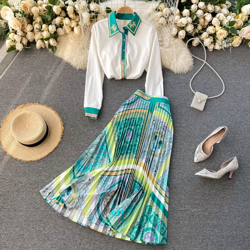 ربيع المرأة بلوزة بأكمام طويلة Vintae مطبوعة ألف خط تنورة مطوي طويل قطعتين مجموعة الملابس