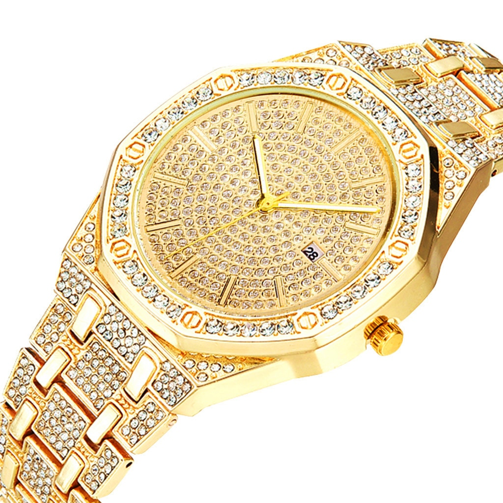Diamond Watch for Mens Top Brand for Men Luxury Iced Out Gold Watch Hip Hop Quartz Wristwatch Relogio Masculino Mens Watch Reloj enlarge