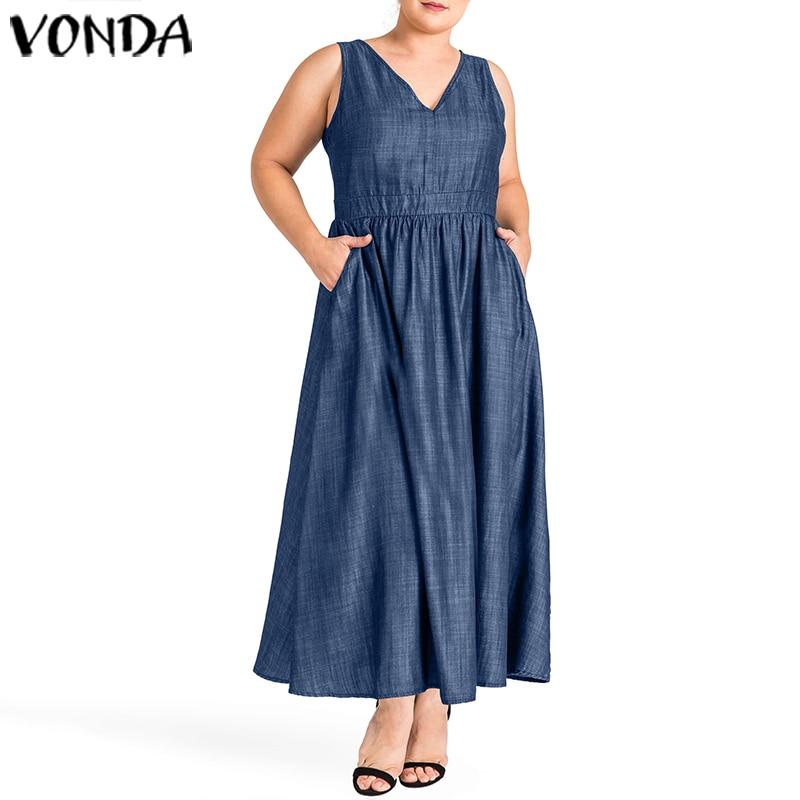 Demin Sundress Women Sleeveless Pleated Long Dresses Casual Solid Holiday Tank Top Dress VONDA 2020 Summer Vestidos Plus Size